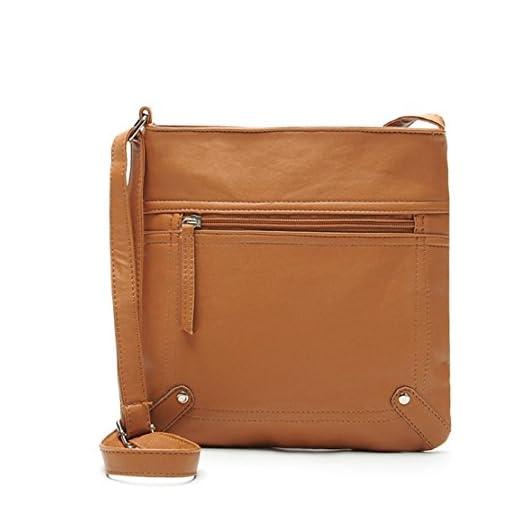 Tongshi 23*25cm Women's Pu Leather Satchel Cross Body Shoulder Messenger Bag Handbag
