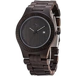 Black Wooden Watch Amexi Unisex Size In Sandawlood Full Calendar 44mm Watch Cae Diameter Men's Watch For Sale