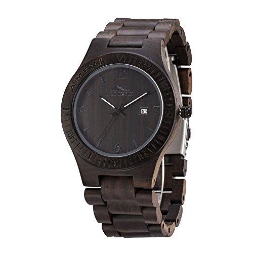 AMEXI Orologio in Legno L'orologio al quarzo di legno di sandalo nero naturale per gli uomini con funzione di calendario