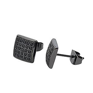 CheersLife Schwarze Ohrstecker 8mm,Moderne Edelstahl Ohrringe für Herren Damen,Quadratische Zirkonia Ohrhänger für Männer