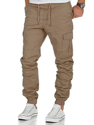 Amaci&Sons Herren Stretch Jogger Cargo Chino Jeans Hose 7006 Beige W34