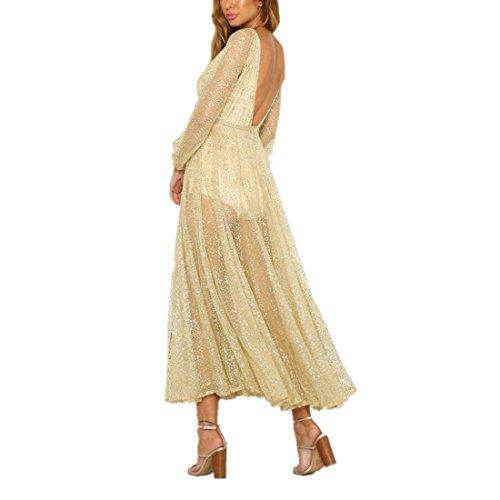 kleid damen Kolylong® Frauen elegant V-Ausschnitt langes Kleid Vintage Rückenfreies Kleid Perspektive Böhmisches kleid Party Kleid Strandkleid Abendkleid Strand Kittel (L, Gelb)