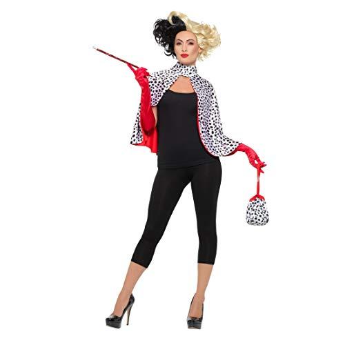 Cruella de Vil Kostüm für Damen / Schwarz-Weiß / Verkleidung Böse Frau 101 Dalmatiner geeignet zu Mottoparty & Kostümfest