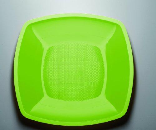 25 Farbige Premium Servierteller, flach, versch. Größen, versch. Farben, Einweg/Mehrweg-Teller, Plastikteller, Kunststoffteller, Partyteller, mikrowellengeeignet, abwaschbar (18cm, hellgrün)
