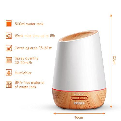 REIDEA 500ml Humidificador Ultrasónico Aromaterapia  Difusor de Aceites Esenciales con LED de 7 Colores y 4 Configuraciones de Tiempo  Perfecto a Bebé Dormitorio  hogar  oficina (Blanco)