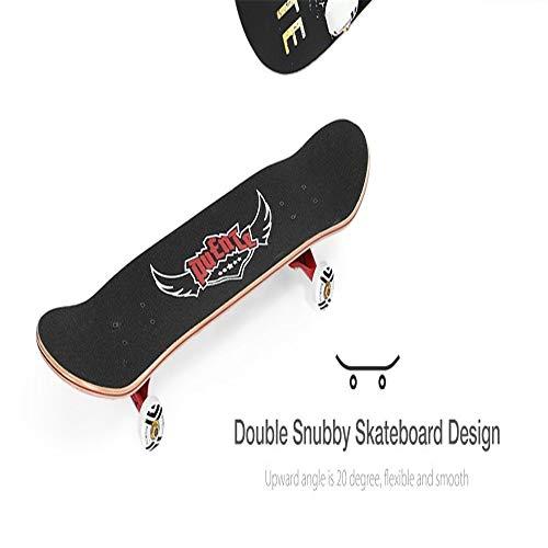 Tianzhiyi Anfänger 9 Adult Allrad Double Snubby Maple Skateboard für Unterhaltung (Color : Schwarz)