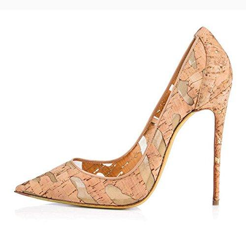 L@YC Frauen Feiner High Heels Woody Breathable Spitz Single Schuhe Bequeme Tanz Hochzeit Sandalen Apricot