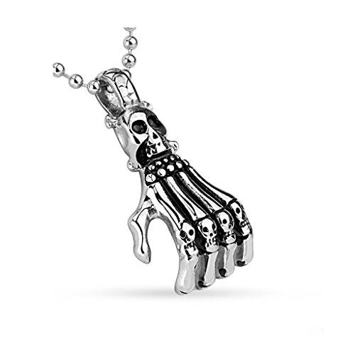 bungsa® scheletro teschio pendente collana per uomini e donne (Argento Ciondolo uomo donna ciondolo teschio in acciaio inox acciaio chirurgico)