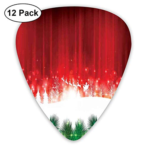 Celluloid Guitar Picks - 12 Pack,Abstract Art Colorful Designs,Blurry Xmas Carol Background With Santa Fir Rudolph Annual Festival Theme Image,For Bass Electric & Acoustic Guitars. -