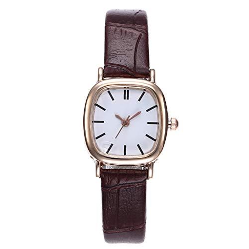 Toponly Herren-/Damen-Paar-Armbanduhr, Lederband, analoge Quarz-Armbanduhr Chinesisch Women Brown 7