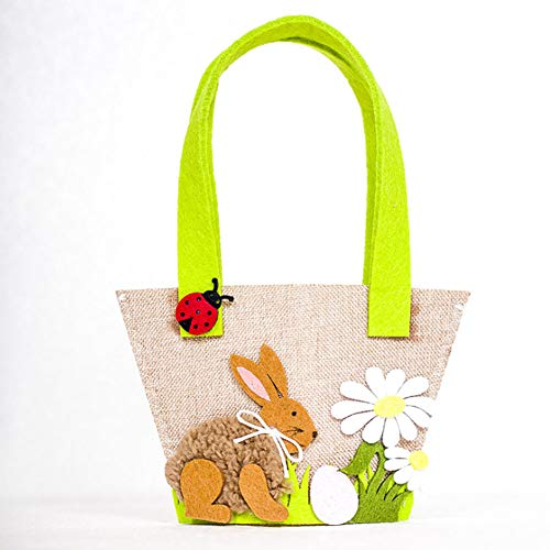 Easter Bunny Tote Bag Basket Jut...