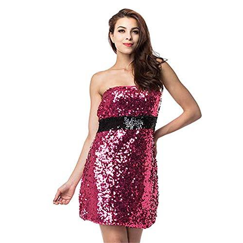 5a26b6373 Ropa Eróticavestido De Vestir Europa Y Los Estados Unidos Sexy Elegante  Lentejuelas Tubo Top Bag Hip Night Shop Dress, Rosa Roja, XL