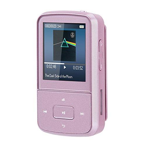 AGPtek G05- Mini clip Reproductor de MP3 8 GB TFT pantalla 1.5 pulgadas con radio FM, Rosa