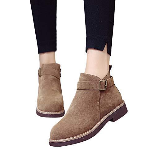 TianWlio Boots Stiefel Schuhe Stiefeletten Frauen Herbst Winter Schnalle Wildleder Volltonfarbe Stiefel Runde Zehe Schuhe Flache Booties Weihnachten Khaki 36