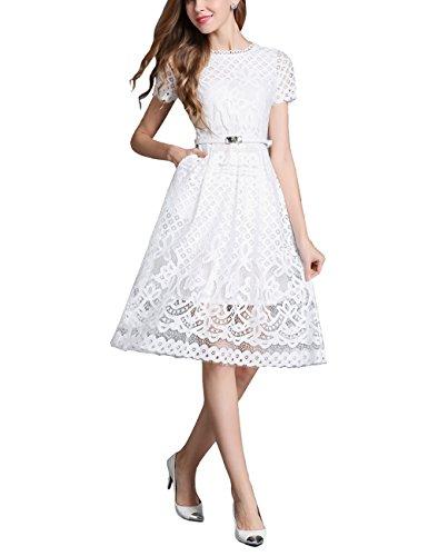 VKStar® Länge Spitze Hohl Applique mit Hülsen Vintage Abendkleid Frauen elegante Hochzeit Prom Schick Brautjungfernkleider Weiß-kurze Hülse
