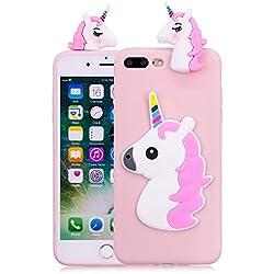 Funluna Funda iPhone 8 Plus/iPhone 7 Plus, 3D Unicornio Silicona Dibujo Animado Suave Case Cover Protección Cáscara Soft Gel TPU Carcasa para iPhone 8 Plus/iPhone 7 Plus, Pink