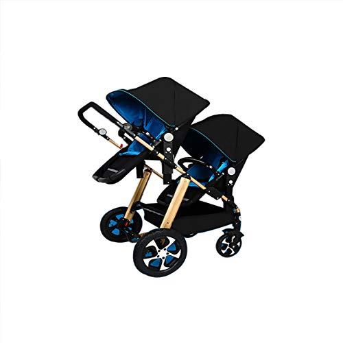 Baby Twin Stroller,Babyfond Lightweight Folding Pushchair with gold frame black Bassinet girl boy twins Pram for Newborn (Blue, Golden Frame) -