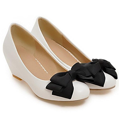 COOLCEPT Femmes Doux Bow Robe Escarpins Mid Talon Compenses Ecole Chaussures For Daughter Blanc