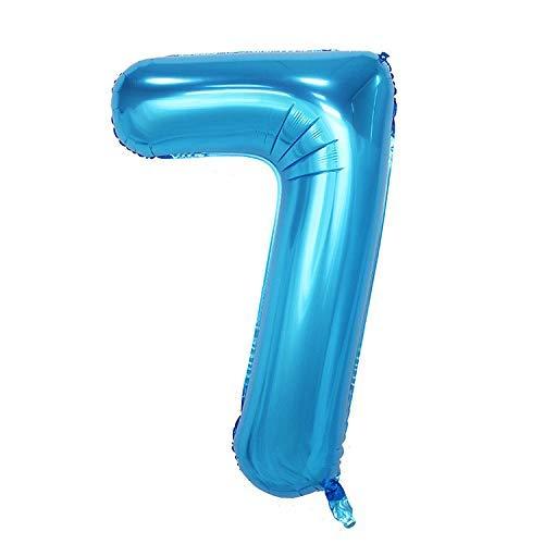 ShopVip Birthday Luftballons - Nummer 7 - Dekoration Geburtstag Hochzeit Riese 80 cm - Riesige Nummer Ballon blau - Anzahl Ballon 7 Jahre - Nummer 7 - 70 Jahre  Envoyer des commentaires