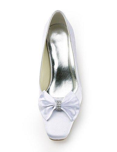 WSS 2016 chaussures soie talon plat talon / talons bout rond mariage / fête des femmes&soirée / robe blanche 2in-2 3/4in-white