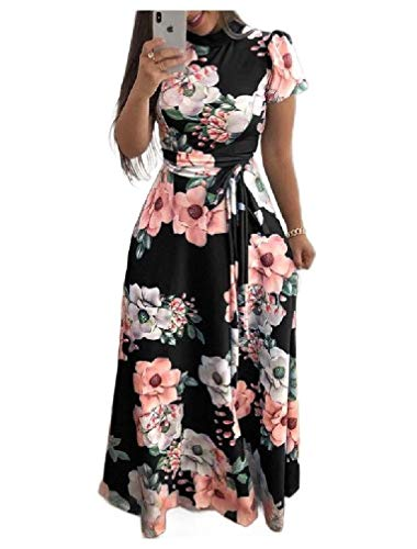 Energy Women's Mock Neck Belted Casual Floral Printed Pleated Long Maxi Dress Black XL Black 3/4 Sleeve Belted