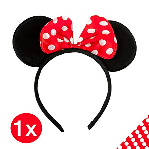 TK Gruppe Timo Klingler Haarreif Micky Maus Haarreifen Mausohren Minnie Maus Minny Mouse Ohren Kostüm Verkleidung Minnie Maus Kinder und Erwachsene Damen (Minnie Mouse Mickey Kostüm)