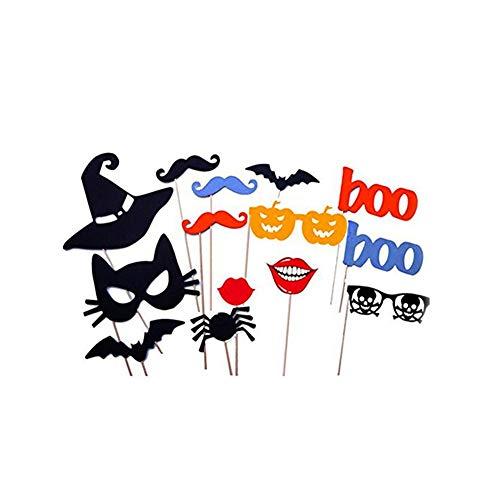 lujiaoshout 14PCS Foto Requisiten DIY Halloween-Party-Karte Masken Photo Booth Props Schnurrbart auf einem Stock-Papier-Foto Props