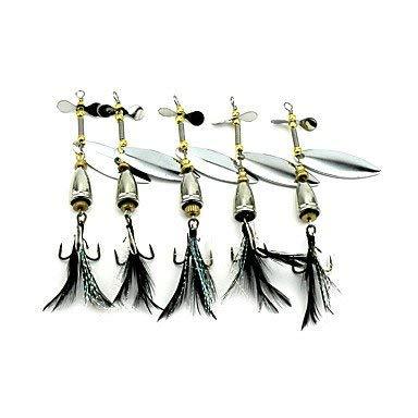5 Stück Spinner Köder Metallköder Harter Köder Buzzbait \u0026 Spinnerbait Löffel Zufällige Farben g/Unze mm Zoll, MetalSea Fishing Bait Casting -