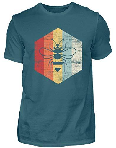 Biene Retro - Honigbiene - Imker - Honig - Bienenkönigin - Tierschutz - Tier - Tiere - Herren Shirt -L-Diva Blue