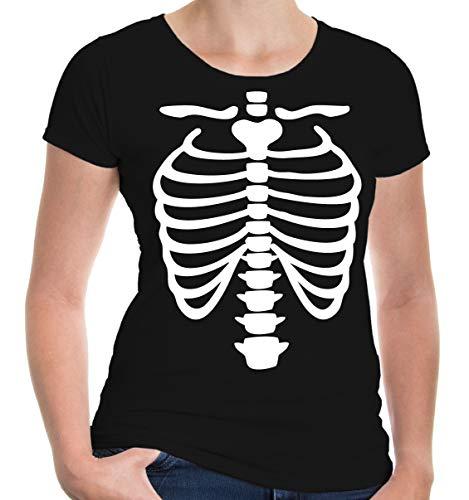 buXsbaum® Damen Kurzarm Girlie T-Shirt bedruckt Skelett-Dress | Halloween Fasching Karneval | M black-white Schwarz (Anatomie Shirt Skelett)
