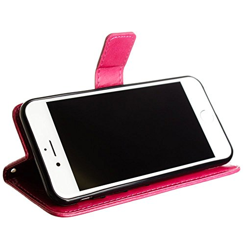 CellularOutfitter iPhone 7 Leather Folding Wallet Case - Embossed Butterfly Design w/ Wristlet - Hot Pink Hot Pink