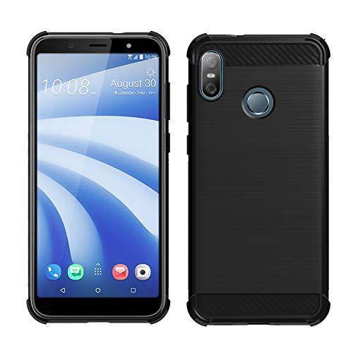 Gosento HTC U12 Life Hülle, Soft Flex Shockproof Silikon Case Kohlenstoff Faser Entwurf Schutzhülle Cover für HTC U12 Life (Schwarz) EINWEG