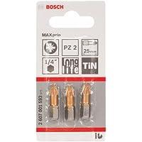 Bosch 2607001593 Embout de vissage PZ 2 25 mm Entraînement ISO 1173 C6.3 queue six-pans mâle 1/4 3 pièces