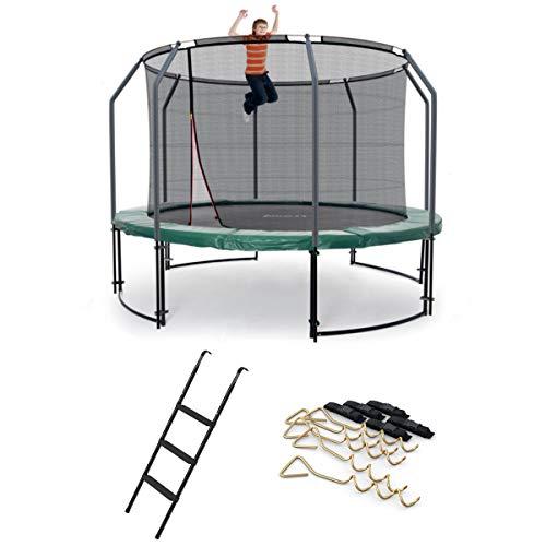 Ampel 24 Deluxe Outdoor Trampolin 366 cm mit innenliegendem Netz, Leiter & Windsicherung | Gartentrampolin mit Dem Maximum an Sicherheit | Belastbarkeit 160 kg