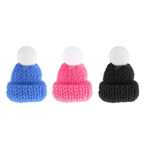 Baoblaze 3 Stück Miniatur gestrickte Wollmütze Mütze Skimütze Winter Kostüm Für 1/12 Puppenhaus Zubehör ( Blau, Pink, Schwarz) (Puppenhaus Kostüm)
