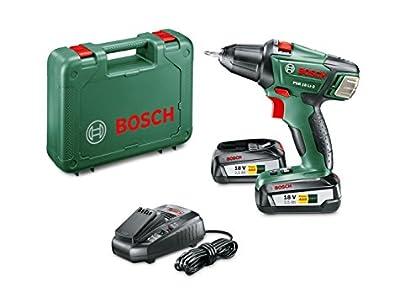 Bosch PSR 18 LI-2 - Taladro atornillador (2 baterías, cargador, punta de atornillar doble, maletín de transporte, sistema de 18V, 2.5Ah)