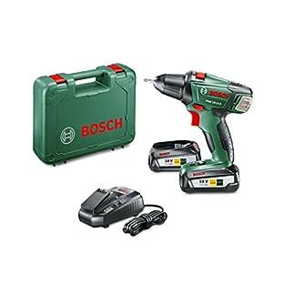 Bosch PSR 18 LI-2 – Taladro atornillador (2 baterías, cargador, punta de atornillar doble, maletín de transporte, sistema de 18V, 2.5Ah)
