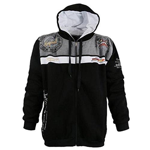 Coole Sweatshirtjacke in Übergröße von Lavecchia mit Kapuze von 3XL bis 8XL Schwarz