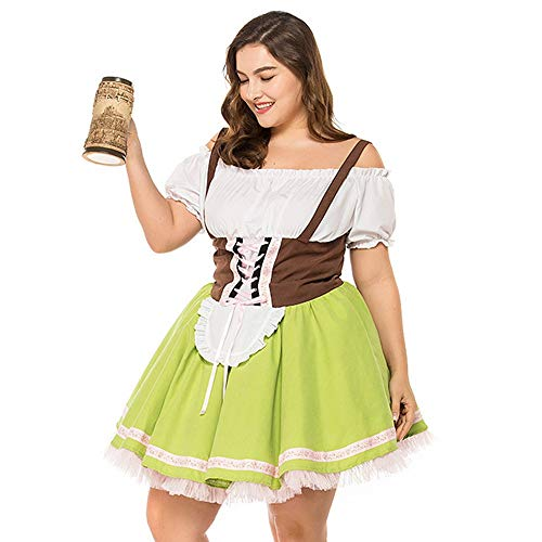 Lace Trim Silk Blouse (Dress for Women 1PCS Short German Oktoberfest Blue Plaid Dirndl Dress Dirndl Dress for Women Holiday Skirt,Green)