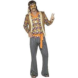 Smiffys 44680L Déguisement Homme, Chanteur Hippie Années 60 L Multicolour