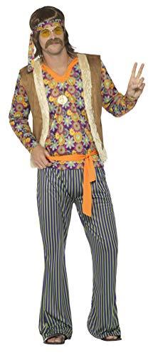 Smiffy's Smiffys-44680M Disfraz de Cantante Hippie años 60, para Hombre, con Camiseta, chale,, M - Tamaño 38