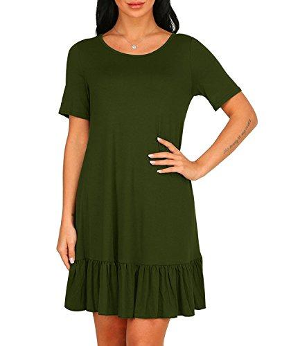 Angerella Donne Girocollo Loose Swing Tunic Vestito Manica Corta Draped T-Shirt Vestito Army Green