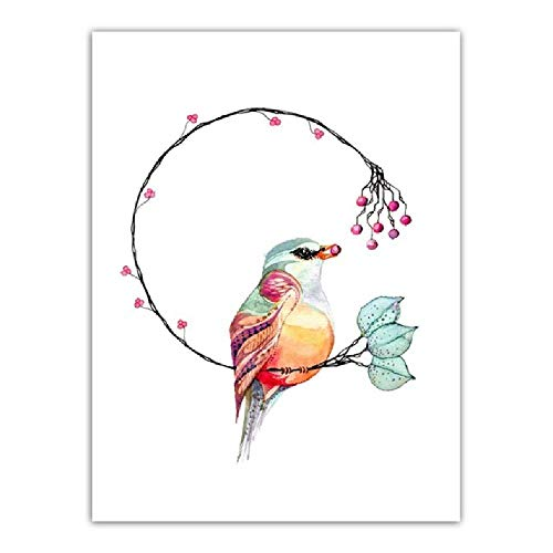 Moderne Hd Drucke Wohnkultur Tier Blume Brief Bild Leinwand Wandkunst Malerei Aquarell Modulare Poster Wohnzimmer, 40x60 cm