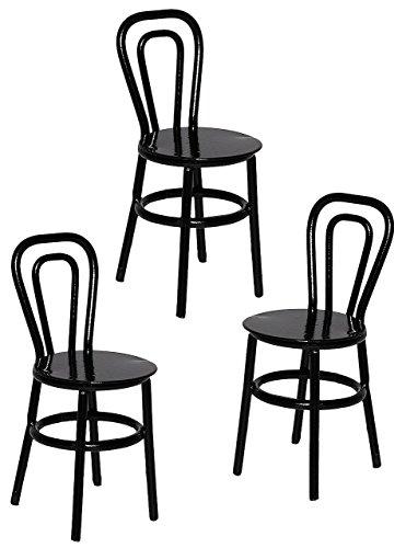3 tlg. Set: Stühle / Bistrostuhl / Gartenstühle - schwarz - aus Metall - Miniatur / Maßstab 1:12...