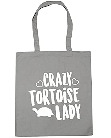 HippoWarehouse Crazy tortoise lady Tote Shopping Gym Beach Bag 42cm x38cm, 10 litres