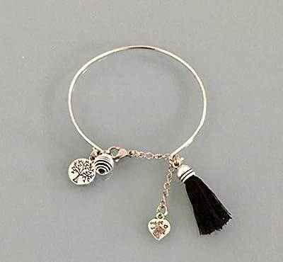 Bracelet jonc arbre de vie en acier inoxydable avec pompon et une perle à parfumer, Bracelet Femme en acier inoxydable, idée cadeau, bijoux cadeaux