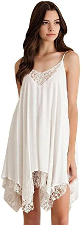 Ouneed Mujeres sin mangas de encaje de Cóctel de fiesta Short Beach mini vestido blanco sólido