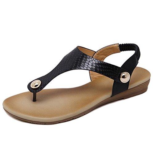 TAOFFEN Classique Boheme Sandales Clip Toe T-strap Plat Flip Flop Slingback Chaussures 766 Noir