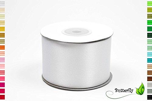 25m Rolle Satinband 50mm // Schleifenband Deko Band Geschenkband Dekoration Hochzeit Taufe Geburtstag Dekoband einseitig 5cm (weiß 029)