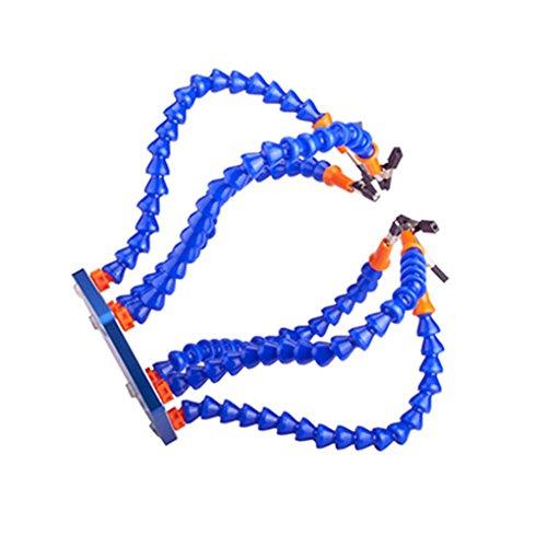 RJX Helfende Hände Dritte Pana Hand Lötstation Werkzeug 6 Flexible Arme mit 360 Grad schwenkbare Alligator Clip (Anti-Rutsch-Aluminium-Basis, bürstenlose DC-Lüfter) Blau